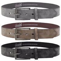 Mens Soulstar Vintage Brushed Metal Buckle Suede Leather Belt Size