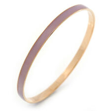 Thin Lavender Enamel Bangle Bracelet In Gold Plating - 19cm L