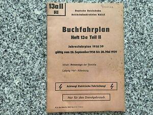 Deutsche Reichsbahn Buchfahrplan Heft 13 a Teil 2 von 1958/59