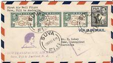 Fiji 1941 FFC First flight cover premier vol Suva Roma Australia Censor censure