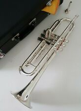 More details for trumpet in bb - complete student beginner outfit in silver finish with hard case