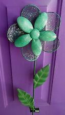 1 Round Green Calif. Drought Flower Yard Art Metal Stake Decoration Summer