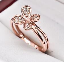 $199 14k Rose Gold / 925 Sterling Silver .10ctw Genuine H-SI Diamond Flower Ring