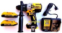 New DeWalt DCD996 20V Brushless Hammer Drill, 2) DCB203 Battery 20 Volt, Charger