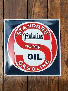 Standard Motor Oil Gasoline Polarine Porcelain Sign Convex Enamel Advertising