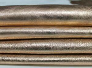 METALLIC ROSE GOLD crinkled crinkle rough Lambskin leather skin 6sqf 0.8mm A6019