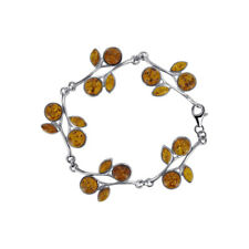 925 Sterling Silver Grape Wine with Leaf Baltic Amber 7.5 inch Bracelet #ADBS027