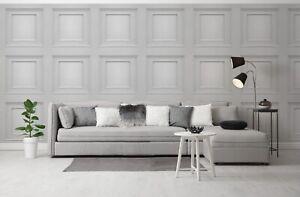 3D Panel Effect Wallpaper Heavy Weight Italian Amara Wood Textured Vinyl Silver