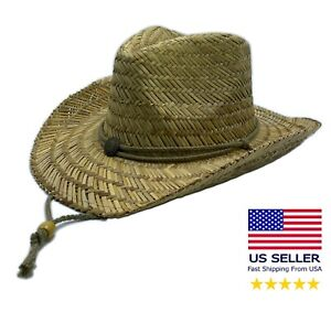 Lifeguard Straw Hat Light One Size Cowboy Natural with Adjustable Chin cord