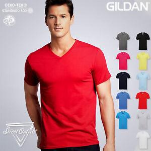 Mens Premium V-Neck T-Shirt Gildan Ringspun Soft Cotton Short Sleeve Plain Top
