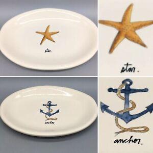 Rae Dunn Oval Appetizer Plate Set of 2 Star Starfish Anchor Nautical Ocean Beach