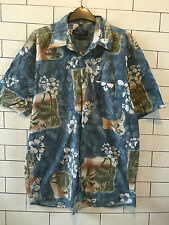 URBAN Vintage Hawaiano IBIZA brillante Floreale Sovradimensionato Festival Camicia UK L #36