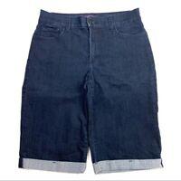 NYDJ Womens Shorts Size 6 Stretch Dark Wash Denim Cuffed Bermuda Blue