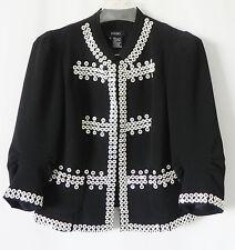 Eccoci Jacket Black 3/4 Sleeve Embellishment Size 6
