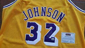 MAGIC JOHNSON AUTOGRAPHED SIGNED LA LOS ANGELES LAKERS #32 JERSEY MM