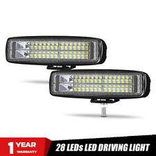 2Pcs 6in 28W LED Work Light Bar Wide Flood Offroad UTV ATV DRL Driving Fog Lamp