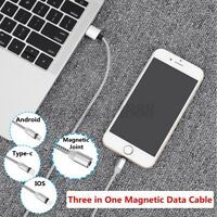 3 IN 1 Fast Speed Charging USB Type C Data Charger Cable For Type-C/Android/ IOS
