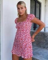 Galaca Mini Dress in Ditsy Butterfly Peach and Red By Motel Size XS