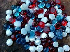 500 RED, WHITE, & BLUE FLAT GLASS MARBLES , GEMS, VASE FILLERS  $17.99