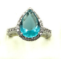 Beautiful Pear Cut Sky Blue Topaz with CZ Stones Sterling Silver 925 Ring Size 7