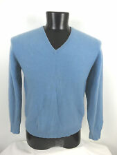 Lyle & Scott Men's Blue V-Neck Sweater 100% Cashmere 44/112  Scotland