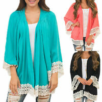Womens Lace Chiffon Cardigan Kimono Sleeve Blouse Boho Loose Tops Beach Cover Up