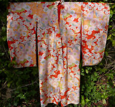 Vintage silk Japanese kimono handmade floral print in red, peach, purple, blue