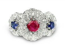 1.54 Carat Genuine Ruby / Sapphire And Diamond Cocktail Ring In 14K White Gold