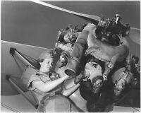 WW2 WWII Photo Female Mechanic Works on Airplane Engine World War Two / 5364