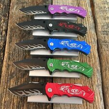 5PC Set DRAGON Assorted Tactical Spring Assisted Open Pocket Knife knives new-M