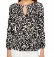 MICHAEL Michael Kors Black Womens Medium M Floral Keyhole Knit Top $49 754