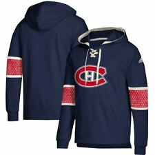 Montreal Canadiens Men's Adidas Jersey Lace Up Pullover Hooded Sweatshirt - Navy