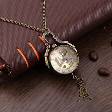 Antique Transparent Glass Ball Mechanical Pendant Pocket Necklace Watches JL