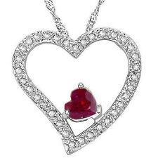 LOVELY GENUINE RUBY & GENUINE DIAMOND 925 STERLING SILVER HEART PENDANT