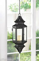 """Hanging Black Moroccan 13"""" tall Candle holder Lantern Lamp light outdoor terrace"""