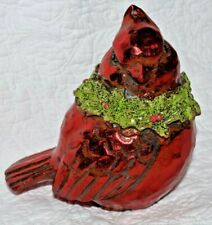 "6"" Resin Shiney Christmas Cardinal Bird with Wreath"