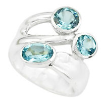 925 Sterling Silver 3.74cts Natural Blue Topaz Round Ring Size 5.5 P62331