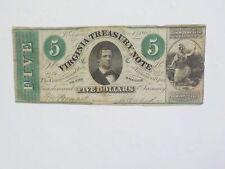 Civil War Confederate 1862 5 Dollar Bill Virginia Treasury Paper Money Currency