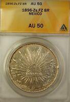 1896-Zs FZ Mexico 8 Reales Silver Coin ANACS AU-50