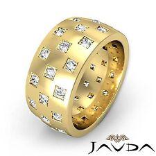 Round Diamond Men 9.4mm Eternity Wedding Band 14k Yellow Gold Unique Ring 1.35Ct