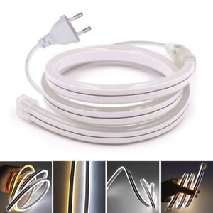 220V 5050 SMD LED Neon Strip Light Bar Flex 120leds/m Hose Waterproof EU Plug