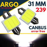 31mm 239 272 Number Plate Light Bulbs Led Festoon C5w Xenon White Interior 12v