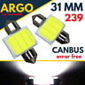 31mm 239 272 Number Plate Light Bulbs Led Festoon C5w Xenon White Interior 12v