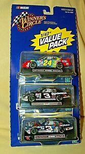 NASCAR VALUE PACK 1:43 3 CARS GORDON EARNHARDT JR HASBRO 2000 DIE CAST DISPLAY.