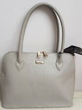New Genuine OSPREY LONDON Grey Mia Shoulder Anaconda Bag Leather Handbag RP£245