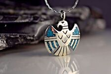 Sterling silver Navajo designed detailed Thunderbird pendant w/ inlaid Turquoise