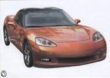 ACEO Original ATC Sports Car Corvette Automobile Orange Color Pencil Realism Art