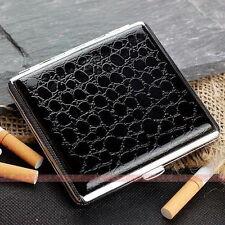 Black Leather Cigarette Case Box Hold For 20 Cigarettes 300B20