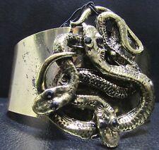 Yoshi Gold tone Snake Cuff Bracelet With Black Jewel Eyes NEW