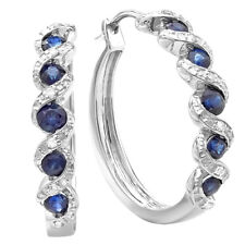 0.86 CT Sterling Silver Round White Diamond & Blue Sapphire Hoop Earrings